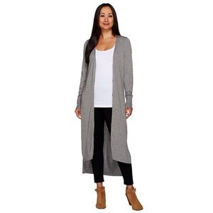 H by Halston Long Gray Button Up Duster Cardigan